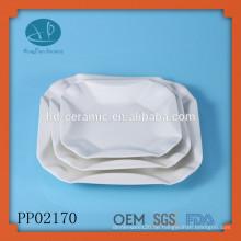 Keramik Quadratisch weiß Platten mit sicherer Verpackung, quadratischer Platten-Set, quadratische Restaurant-Platten