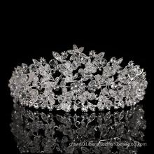 Wholesale princess gorgeous Hot Sale Silver Handmade Tiara Wedding Dress Luxury silver Bridal rhinestone Crystal beads crown