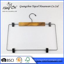 Pants wooden hanger with clips