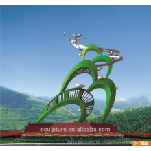 2016 Neue Edelstahl-moderne abstrakte grüne Skulptur für Garten-Landschaft Skulptur