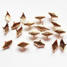 6x11mm Gold Flat Diamante Studs 4 Prongs