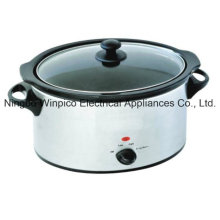 4.5L (5.10QT) Slow Cooker, Stainless Steel, Oval Shape