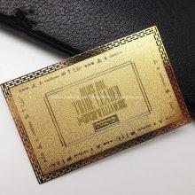 Tarjeta de presentación de tarjetas de visita de metal con acabado de latón personalizado