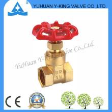 Válvula de cobre amarillo de la puerta de agua de la alta calidad con el volante del hierro (YD-4007)
