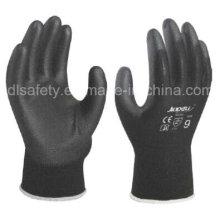 Black Nylon Work Glove with Black PU (PN8119)