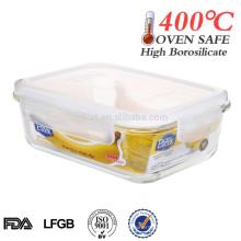 hitzebeständiger quadratischer Glasbehälter für Lebensmittel 1100ml