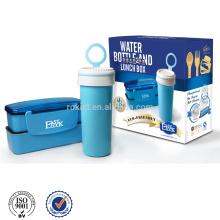 Lancheira de grau alimentício e garrafa de água com caixa de cor