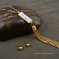Conjunto de joyería borla de acero inoxidable transparente con cadena