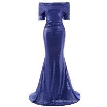 Kate Kasin Women Sexy Floor-Length Sequined Short Sleeve Off Shoulder Blue Sequins Long Evening Prom Party Dress KK001046-1