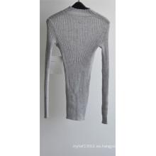 Mujeres 100% lana cuello redondo suéter de punto