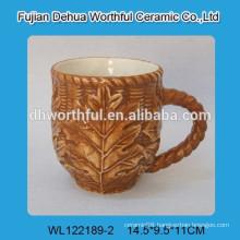 2016 new style ceramic mug with leaf pattern