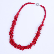 Neue rote Koralle bördelt Schnur Halskette