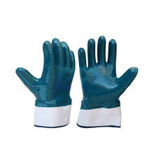 Jersey Liner Acrylonitrile Budatine Full Coating Blue Nitrile Dipped Cuffed Gloves For Oil