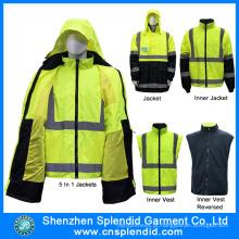 Hi Vis Safety 5 em 1 jaqueta com 3m Reflective Tape