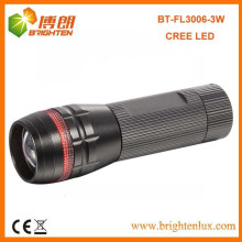 Factory Sale 3 * aaa Dry Battery Powered Aluminium Head Zoom Dimming XPE 3W Cree led Zoom Lampe torche avec anneau rouge