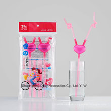The Lastest Design Party Wedding Decoration Plastic Heart-Shaped Straw