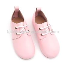 Crianças rosa feminino couro oxford sapato sapatos de sola de borracha doce