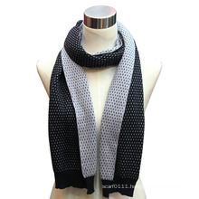 Lady Fashion Cotton Nylon Knitted Scarf in Contract Color (YKY4321)