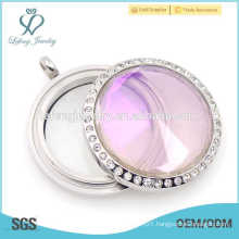 Waterproof stainless steel glass dome locket, gemstone photo locket pendant