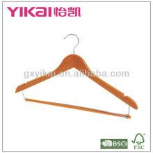 Gancho de camisa de madeira com calças bloqueio de barra