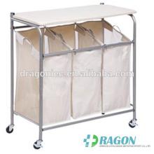 DW-DC001 Panier à linge 3 panier à linge de tri + table à repasser vêtements de chariot