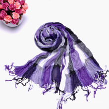 Lady′s Fashion Purple Multiple Color Long Wrinkle Checked Scarf