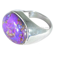925 Sterling Silver & Purple Copper Turquoise Gemstone simples anel para todas as ocasiões