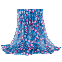 Women′s Christmas Snow Printing Long Woven Shawl Scaf (SW140)
