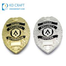 Manufacturer custom metal embossed 3d logo enamel gold silver plating security badge with safety pin