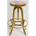 Industrial Bar Stool Antique Yellow Color Mango Wood Seat