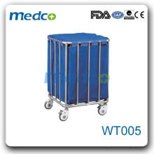 WT005 Chariot à linge en acier inoxydable pour hôpitaux