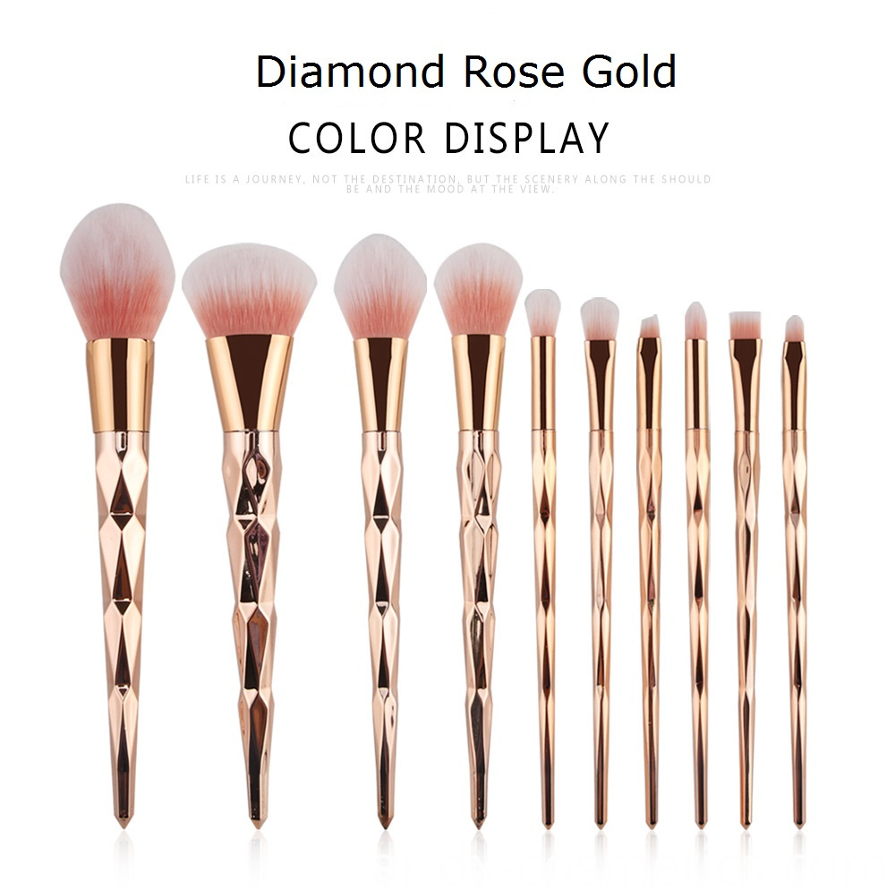 10 Pcs Diamond Rose Gold Makeup Brushes Sets 7