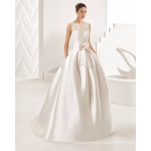 Lace Top Pleat Belt with Bow Pocket Satin Ball Gown Bridal Wedding Dress