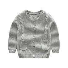 Пять кнопок детский кардиган, круглый шеи свитер зимой