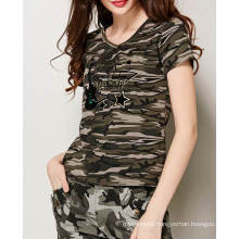 Ladies Fashion Camouflage Pattern Printed Custom Cotton V Neck Tee T Shirt