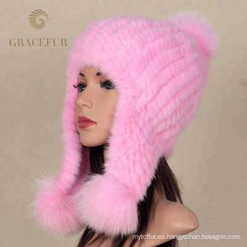 Sombrero de gorra hecho punto piel real al por mayor real de la gorrita tejida del visón