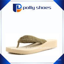Cute Women′s Flip Flop Sandals Size 6 White Gold New
