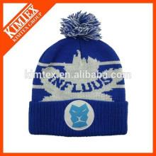 hot sale jacquard custom acrylic crochet hat with top ball