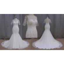 Vestido de noiva de renda manga curta sereia
