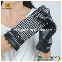 Gants de cuir certifiés Wench Lady Herringbone BSCI Mode Gants en cuir noir avec ceinture