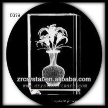 Flor do lírio do laser 3D de K9 dentro do retângulo de cristal