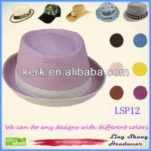 Fashion Elegant Purple Panama Women 100% Paper Straw Hat,LSP12