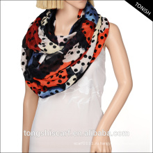 2016 мода молодых трубки шарф бесконечность оптом черный и белый горошек шарф
