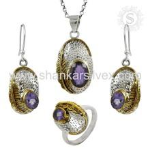 Boucles d'oreilles à la mode Bijoux en argent faits à la main Ensemble d'améthyste Indian Wholesaler Jewelry Wholesaler