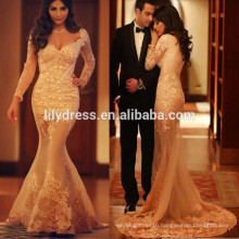 Latest Nude Mermaid Style Floor Length Custom Made Long Prom Party Dresses Vestido De Fiesta PD108 lace long sleeve prom dress