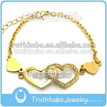 Las joyas de moda de acero inoxidable de nuevo diseño ahuecan las pulseras con forma de corazón de mariposa y grabadas con patrón tribal doble con CZ