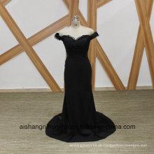 Schwarze Meerjungfrau Brautjungfer Kleider Elegantes Boot Ausschnitt Perlen Brautjungfer Kleid