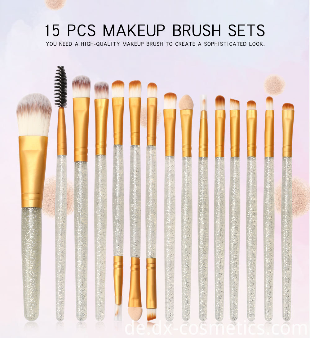 15 Pieces Crystal Travel Makeup Brushes Set 1