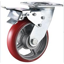 Roue à roulette pivotante en fonte d'acier PU