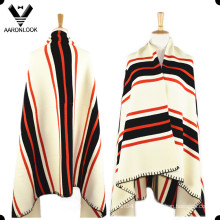 Mujeres Lana Acrílico Blended Stripe Pattern Poncho de punto